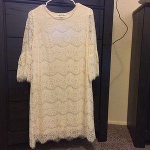 Cream dress.